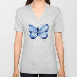 Butterfly Watercolor Blue Butterflies Unisex V-Neck