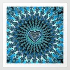 Celtic Heart Knot Fractal Mandala Art Print