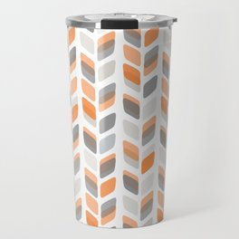 Modern Rectangle Print with Retro Abstract Leaf Pattern Travel Mug