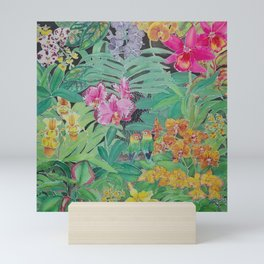 Orchids and Lovebirds Mini Art Print