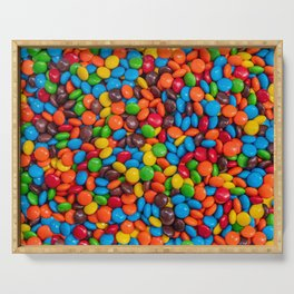 Colorful Candy-Coated Chocolate Pattern Serving Tray