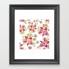 Tropical Flowers Watercolor Framed Art Print