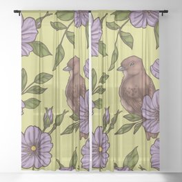 Purple Wild Rose Sheer Curtain