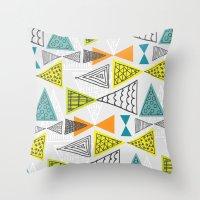 mid century modern Throw Pillows featuring Geometric Mid Century Modern  Triangles by Ryan Deighton