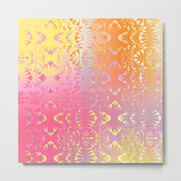 Happy Hippie Pattern (orange) Metal Print
