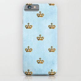 Gold crowns on lightblue watercolor backround- pattern iPhone Case