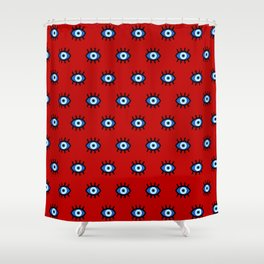 Evil Eye on Red Shower Curtain
