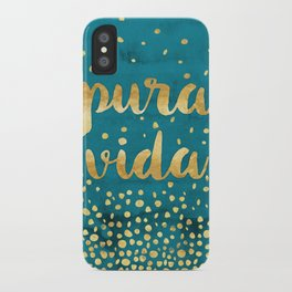 Pura Vida Gold on Teal iPhone Case
