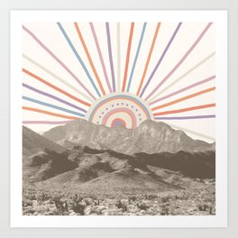 Summerlin Mountain // Abstract Vintage Mountains Summer Sun Vibe Drawing Happy Wall Hanging Art Print