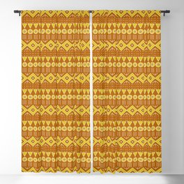 Mudcloth Style 2 in Burnt Orange and Yellow Blackout Curtain