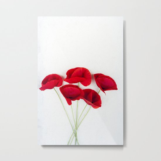 a Bunch Of Red Poppies Metal Print