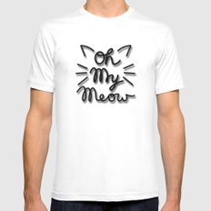 OH MY MEOW White MEDIUM Mens Fitted Tee