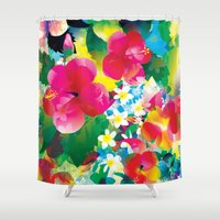 hawaiian Shower Curtains featuring Hawaiian jungle by Akwaflorell