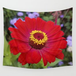 Red zinnia - blazing ring of fire Wall Tapestry