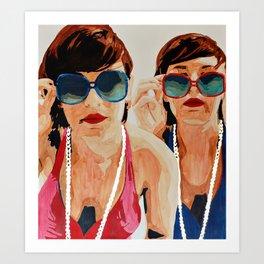 Woman in Vintage Sunglasses Art Print