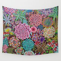 succulents Wall Tapestries featuring Succulents by gwolly