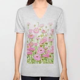 pink buttercup ranunculus field watercolor Unisex V-Neck