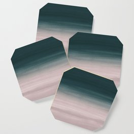 Touching Teal Blush Watercolor Abstract #1 #painting #decor #art #society6 Coaster