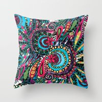 paisley Throw Pillows featuring Paisley by Lara Gurney