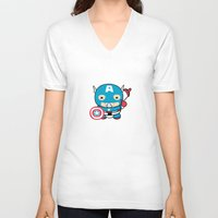 avenger V-neck T-shirts featuring Littlest Avenger by OneWeirdDude