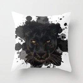 Black Panther Stylized Digital Portrait Throw Pillow