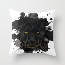 Black Panther Stylized Digital Portrait Throw Pillow