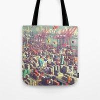 tetris Tote Bags featuring Pier Tetris by Ivan Guerrero