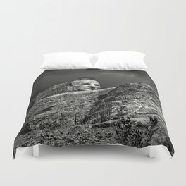 Crazy Horse Monument in Black and White Duvet Cover