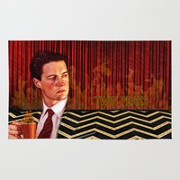 twin peaks Area & Throw Rugs featuring Twin Peaks  by Magdalena Almero