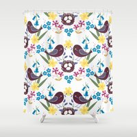 building Shower Curtains featuring Nest building by The Digital Finch