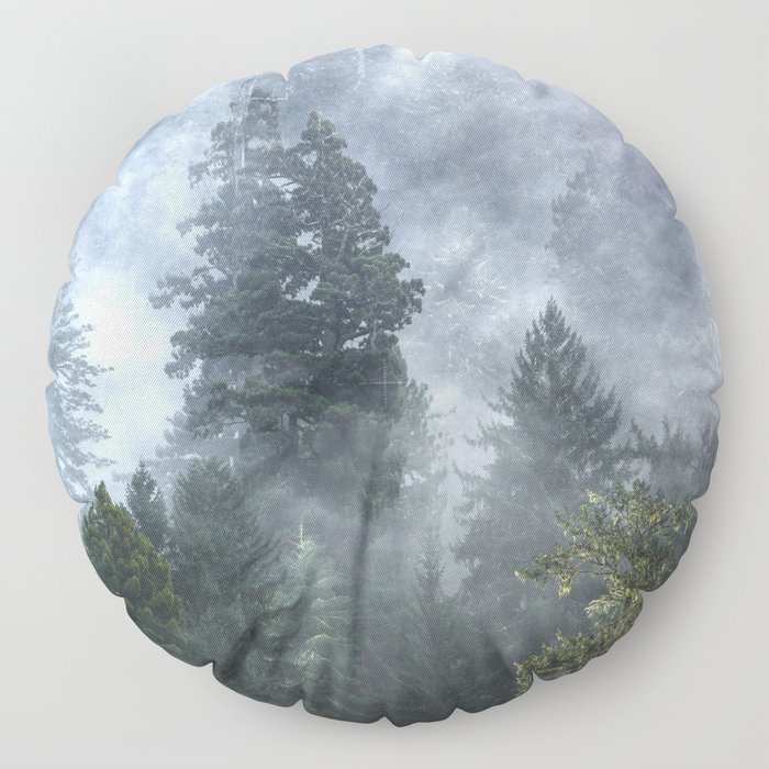 Smoky Redwood Forest Foggy Woods - Nature Photography Floor Pillow