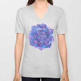 Ultra violet echeveria rosette succulent Unisex V-Neck