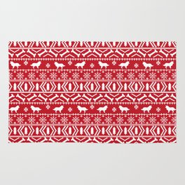 Border Collie fair isle christmas red and white holiday sweater dog breed gifts Rug