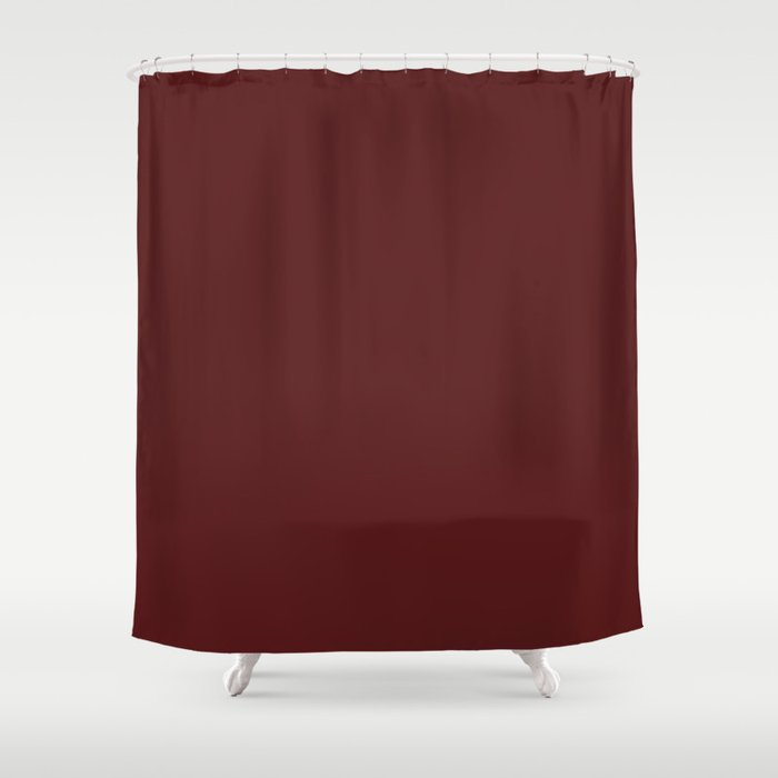 Solid Barn Red Color Shower Curtain