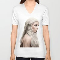 daenerys V-neck T-shirts featuring Khaleesi (Blue Sky) by Jason Cumbers