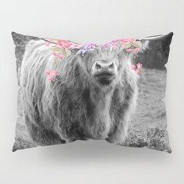 Floral Highland Cow Pillow Sham