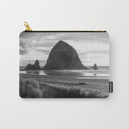 Cannon Beach Sunset - Black and White Nature Photography Carry-All Pouch