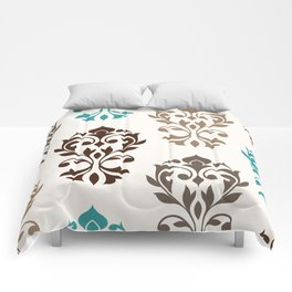 Heart Damask Art I Browns Teal Cream Comforters
