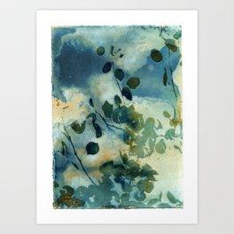 Abstract Shadows Cyanotype Art Print