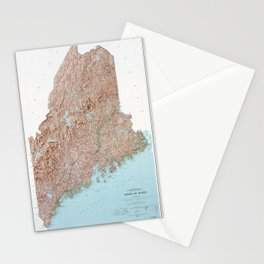 State of Maine Map (1977) Stationery Cards