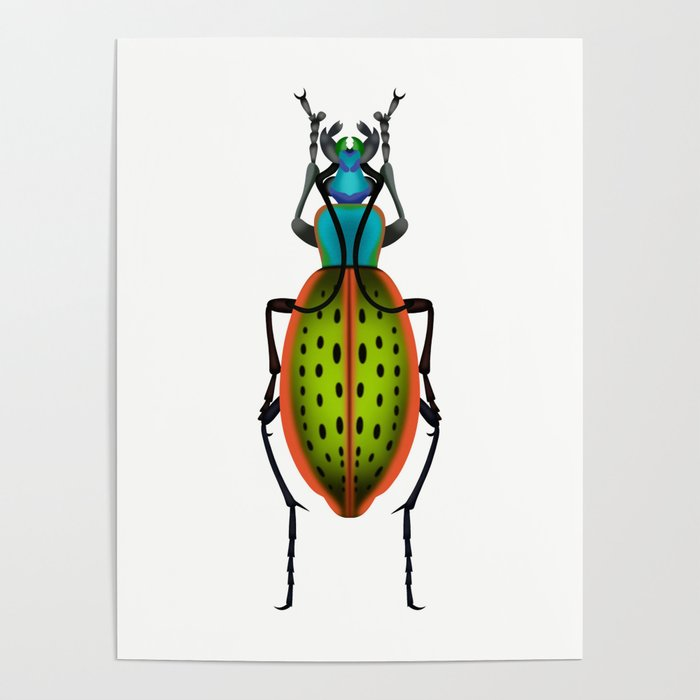 Green Dot Beetle Poster