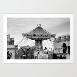 Carousel black and white #carousel #blackandwhite Art Print