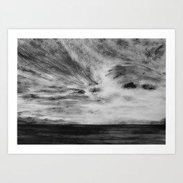 Hawaiian Ocean in Black and White Art Print
