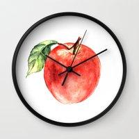 apple Wall Clocks featuring Apple by Anna Yudina
