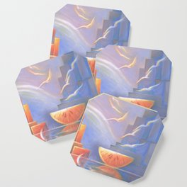 Dessert Party, Abstract Landscape, Orange, Downtown, Wall Art Coaster