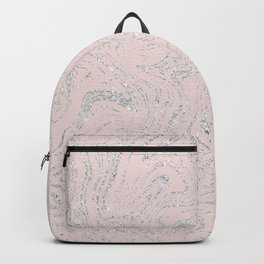 Blush pink elegant silver glitter abstract marble Backpack