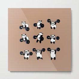 Olympic Lifting Panda Metal Print