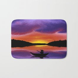 Sunset Fishing Bath Mat