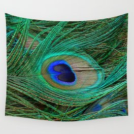 Peacock Feather Macro Design Wall Tapestry