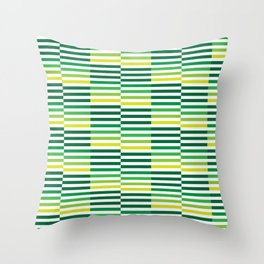 Staggered Green Stripes Throw Pillow